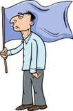 Mężczyzna z chorągwianą kreskówki ilustracją Obrazy Stock