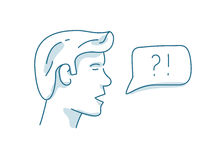 Mężczyzna z dialog mowy bąblem, dyskusja, pytanie i odpowiedź pojęcie Obraz Stock