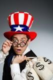 Mężczyzna z dolarowymi pieniędzy workami Fotografia Stock