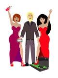 Mężczyzna z dziewczynami i skrzynka z pieniądze ilustracja wektor