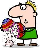 Mężczyzna z Easter jajkami i królik kreskówką Fotografia Stock