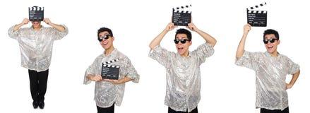 Mężczyzna z filmu clapperboard odizolowywającym na bielu Zdjęcia Royalty Free