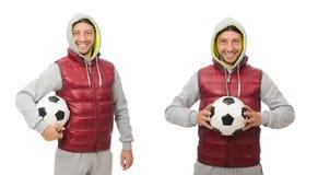 Mężczyzna z futbolem odizolowywającym na bielu zdjęcia stock