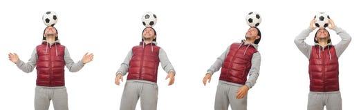 Mężczyzna z futbolem odizolowywającym na bielu fotografia stock