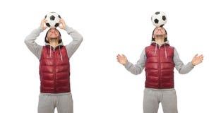 Mężczyzna z futbolem odizolowywającym na bielu obrazy stock