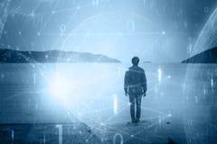 Mężczyzna z futurystycznym cyberprzestrzeni sieci tłem Obrazy Royalty Free