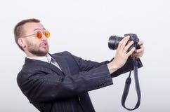 Mężczyzna z kamerą Zdjęcie Royalty Free