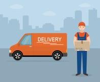 Mężczyzna z kartonem i doręczeniowym samochodem dostawczym na miasta tle Fotografia Royalty Free