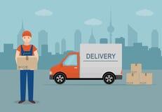Mężczyzna z kartonem i doręczeniowym samochodem dostawczym na miasta tle Obrazy Stock