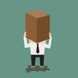 Mężczyzna z kartonem na jego głowie Zdjęcie Stock