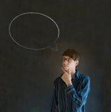 Mężczyzna z kredowy mowa bąbla rozmowy opowiadać Zdjęcie Royalty Free