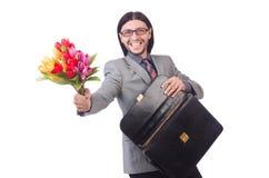 Mężczyzna Z Kwiatami Obraz Royalty Free