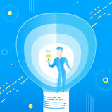 Mężczyzna z lampowym simbol pomysłu abstraktem Obraz Stock