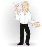 Mężczyzna z latanie zabawki samolotem również zwrócić corel ilustracji wektora Obraz Royalty Free