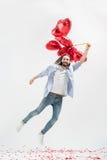 Mężczyzna z lotniczymi balonami Zdjęcia Royalty Free