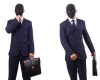 Mężczyzna z maską i teczka odizolowywająca na bielu zdjęcia stock