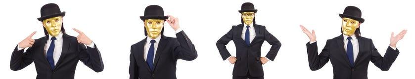 Mężczyzna z maską odizolowywającą na bielu Obraz Royalty Free
