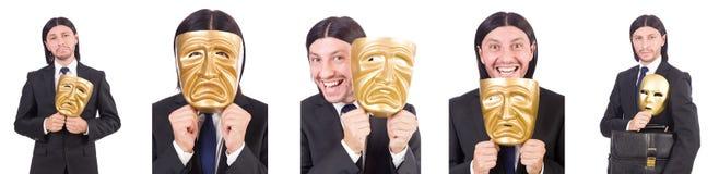 Mężczyzna z maską odizolowywającą na bielu Zdjęcia Stock