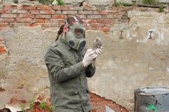 Mężczyzna z maski gazowej i wojskowego ubraniami bada nieżywego ptaka Zdjęcie Royalty Free