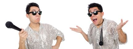 Mężczyzna z mic odizolowywającym na bielu Fotografia Royalty Free