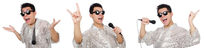 Mężczyzna z mic odizolowywającym na bielu Zdjęcie Stock