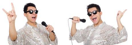 Mężczyzna z mic odizolowywającym na bielu Obraz Royalty Free