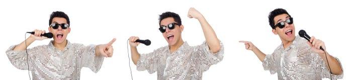 Mężczyzna z mic odizolowywającym na bielu Zdjęcie Royalty Free