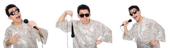 Mężczyzna z mic odizolowywającym na bielu Obrazy Royalty Free
