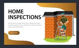 Mężczyzna z narzędziami egzamininuje domu dachowego plakat royalty ilustracja