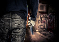 Mężczyzna z nożem obrazy stock