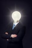 Mężczyzna z Oświetleniową żarówki głową Zdjęcia Stock