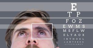 mężczyzna z oko ostrości pudełka szczegółem, liniami i oko próbnym interfejsem Obrazy Royalty Free