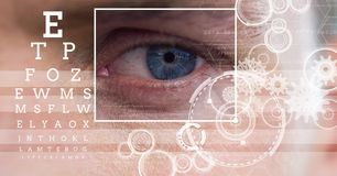 mężczyzna z oko ostrości pudełka szczegółem, liniami i oko próbnym interfejsem Obraz Stock