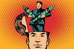 Mężczyzna z otwartą głowy Kim Jong UN lider Północny Korea royalty ilustracja