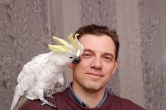 Mężczyzna z papuzim obsiadaniem Obraz Royalty Free
