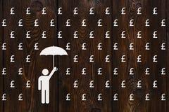 Mężczyzna z parasolową pozycją, deszcz funtowi sterlings, pieniądze pojęcie Obrazy Royalty Free