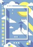 Mężczyzna z parasolowym plakatem ilustracja wektor