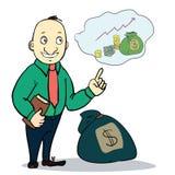 Mężczyzna z pieniądze również zwrócić corel ilustracji wektora Zdjęcie Royalty Free