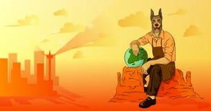 Mężczyzna z pies głowy obsiadaniem na skale ilustracja wektor
