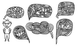 Mężczyzna z pociągany ręcznie doodle myśli bąblami Fotografia Royalty Free
