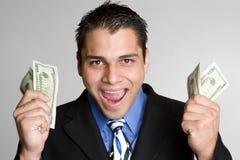 mężczyzna z podnieceniem pieniądze Fotografia Stock