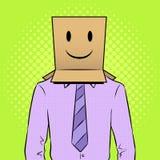 Mężczyzna z pudełkowatym szczęśliwym emoji na kierowniczym wystrzał sztuki wektorze Zdjęcia Stock