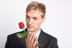 Mężczyzna z różą zdjęcie royalty free