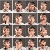 Mężczyzna z różnymi wyrażeniami i gestami obraz stock