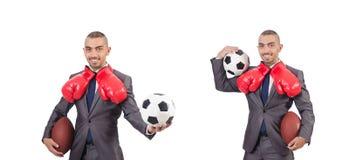 Mężczyzna z sport przekładnią odizolowywającą na bielu obrazy royalty free