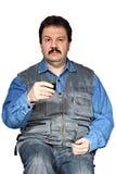 Mężczyzna z szkłem Zdjęcia Stock