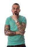 Mężczyzna Z tatuażem I broda Na Białym tle Obrazy Royalty Free