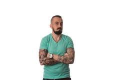 Mężczyzna Z tatuażem I broda Na Białym tle Zdjęcia Royalty Free