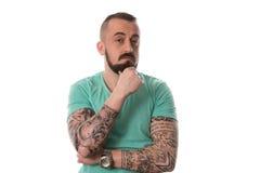 Mężczyzna Z tatuażem I broda Na Białym tle Obraz Stock