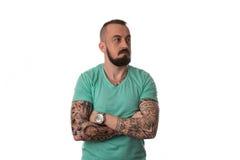 Mężczyzna Z tatuażem I broda Na Białym tle Fotografia Stock